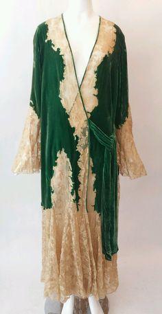 Vintage 1930's Ecru Lace and Green Silk Velvet Robe / antique robe/   eBay