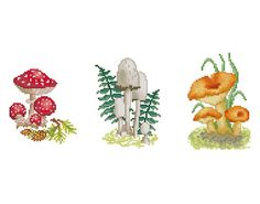 Cross Stitch Pattern Mushrooms    Set of 3 by LucyXStitches, $8.00