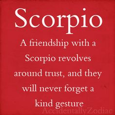 Scorpio...friendship revolves around trust