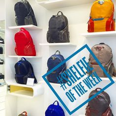 This weeks #shelfie of the week from @piquadrofficial  #designer #shelfie #backpacks for #hightech #travellers from Italian brand @piquadrofficial in Londons #regentstreet.  The brand uses young #designers to keep up to date with current trends that they find through ongoing #competitions.  #design #vm #visualmerchandising #travel #nomad #fashion #streetstyle #streetwear #bag #accessories #wanderlust #digitalnomad #lux #luxury #laptop #laptoplifestyle #laptopbag #tablet #technology