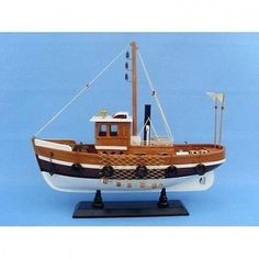 Handcrafted Nautical Decor Knot Working Fishing Model Boat. Free Shipping
