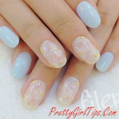 @prettygirltips Pale Blue Nails with White Flowers via