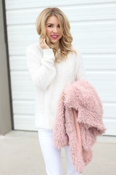 Pink Coat   pink fur coat   simply sutter   holiday outfit   winter white outfit