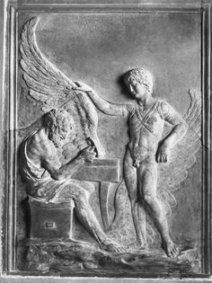 Daedalus and Icarus, antique bas-relief; in the Villa Albani, Rome. Greece Mythology, Greek Mythology Tattoos, Classical Mythology, Greek And Roman Mythology, Greek Gods, Daedalus And Icarus, The Minotaur, Roman Sculpture, Statues