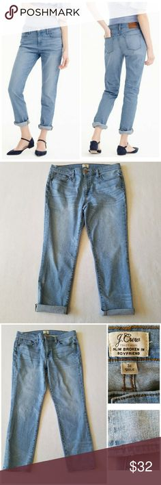 J. Crew slim boyfriend jeans Kellerton wash 31 12 J. Crew slim broken in boyfriend jean jeans in light Kellerton wash; excellent used condition with distressing as shown in pictures; inseam ca 26.5 inches with hem not rolled up (ca 24 inches with hem rolled up as shown in picture);, rise .ca 10 inches, waist across ca 18 inches. J. Crew Jeans Boyfriend