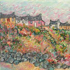 "Falcarragh, Seaside Village, Donegal, 8"" x 8"", oil"