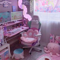 Bedroom Setup, Bedroom Decor, Bedroom Ideas, Kawaii Bedroom, Otaku Room, Cute Room Ideas, Gaming Room Setup, Game Room Design, Gamer Room