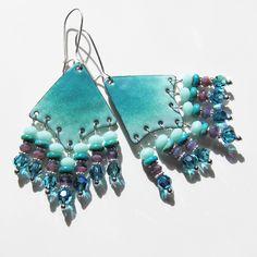 Turquoise enamel chandelier earrings, beaded dangles, bohemian jewelry green aqua purple enameled jewellery.
