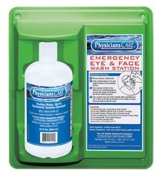 """PhysiciansCare Eyewash Station, Single 32 oz. Screw Cap Bottle - PhysiciansCare wall mountable eye flush station with single 32 ounce bottle. One bottle of sterile isotonic buffered solution (net weight 32 fluid ounces) for flushing or irrigating the eyes on a wall mount ready station. Station measures 11-3/4"""" Length x 4"""" Width x 13-3/4"""" Height. PhysiciansCare..."""