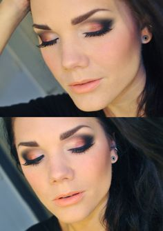 This look works for deep set eyes because the black eyeshadow slightly above the crease line on the top lid visually recedes the eye, and very light eyeshadow in the inner corners bring the eyes forward. READ the Celebrity deep set eyes makeup  tricks here: http://minkilashes.org/celebrities-best-eye-makeup-tricks-for-deep-set-brown-eyes/ #DeepSetEyes #EyeMakeup
