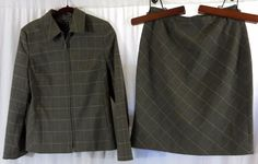 Laura Scott Skirt Suit Top 6 Skirt 8 Brown Plaid Wear to Work #LauraScott #SkirtSuit