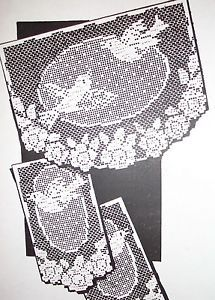 7360-Vintage-Filet-BIRDS-IN-FLIGHT-ROSES-Chair-Set-Pattern-to-Crochet-Reprint