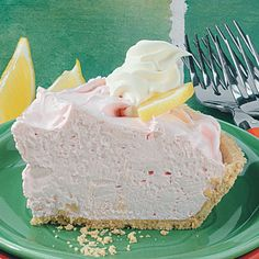 Pink Lemonade Pie Recipe -A cool comfort food is this pie for my family. On very hot days, I serve it straight from the freezer. That way, it's slightly frosty and extra refreshing.—Nella Parker, Hersey, Michigan