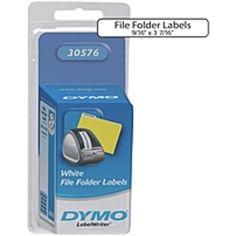 Dymo File Folder Labels - 0.56 Width x 3.44 Length - White - 130 Label