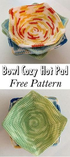 projects for the home Bowl Cozy Hot Pad - Free Pattern - Knitting Projects Crochet Bowl, Knit Or Crochet, Crochet Gifts, Free Crochet, Knitting Projects, Crochet Projects, Knitting Patterns, Crochet Patterns, Crochet Ideas