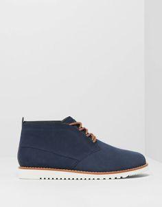 Pull&Bear - homem - sapatos homem - botins desert em couro aveludado - azul marinho - 13060012-V2015