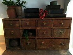 ☆☆☆ Spice Cabinets, Cupboards, Dovetail Box, Apothecary Cabinet, Cubby Storage, Apothecaries, Prim Christmas, Primitive Antiques, Small Drawers