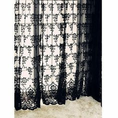 "1pc 59""x108"" Black Sexy Rich Vintage French Lace Window Curtain Drape Panel Veil 