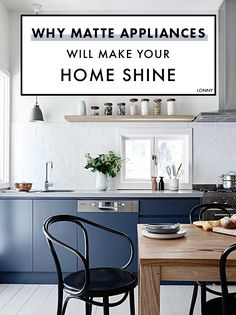 Most of us are used to homes with shiny stainless steel ovens, fridges, and sinks that add a sleek element to the cooking experience. Well as we are bringing on change for 2018, we are also ready to mix up the look of our kitchen aesthetic. Say goodbye to shiny silver appliances and get ready to greet a more matte approach to cuisine. From kitchens entirely covered in bold black to unique accents with flat finishes, you're going to love these stylish spaces.