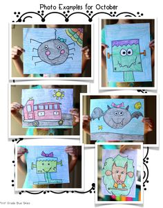 Directed Drawing Update to Growing Bundle for Fall and October drawings  Directed drawings for a firetruck, owl, bat, spider, and Frankenstein - First Grade Blue Skies