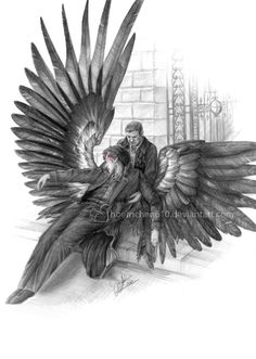 """'The original is """"Lament for Icarus"""" by Herbert James Draper. I thought that the figure of Icarus went well with the portrayal of Sherlock in the BBC Series. Sherlock Fandom, Sherlock John, Sherlock Holmes, Benedict And Martin, Mrs Hudson, Cool Sketches, Johnlock, Martin Freeman, Doctor Strange"""