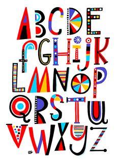 Children's Alphabet Art Print on Behance Creative Lettering, Lettering Styles, Lettering Design, Hand Lettering Alphabet, Alphabet Art, Cool Fonts Alphabet, Calligraphy Alphabet, Calligraphy Fonts, Handwritten Fonts