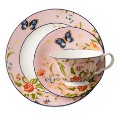 AYNSLEY COTTAGE GARDEN NEW TEA TRIO. TEA CUP, TEA SAUCER AND TEA PLATE PINK