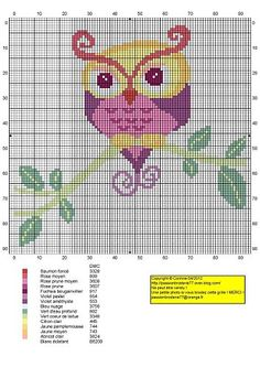 This site has 13 (!) pages of free owl cross stitch graphs. Just scroll down and click on the numbers to get the pages. Graphs can be used for knitting, crochet, beads and cross stitch