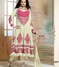 Buy Off white Embroidery Georgette semi stitched salwar with dupatta party-wear-salwar-kameez online