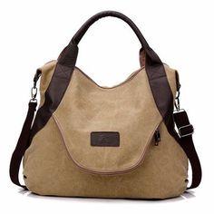 High-quality Women Canvas Casual Large Pocket Handbag Leather Handle Shoulder Bag Crossbody Bag - NewChic Mobile.
