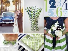 Navy, lime and white color palette.  A fresh clean combination.
