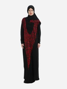 Prayer Dress Isdal Arabic Calligraphy Print Black With Hijab
