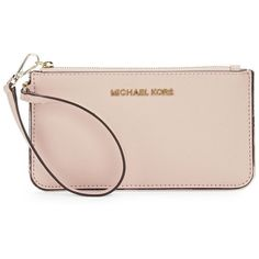 Michael Michael Kors Specchio Leather Wristlet ($78) ❤ liked on Polyvore featuring bags, handbags, clutches, ballet, pink purse, pink wristlet, leather handbags, michael michael kors handbags and genuine leather purse
