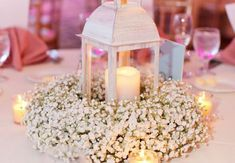 Baby's Breath Wreath Centerpiece with Lantern and Candles Creative Wedding Favors, Diy Wedding, Rustic Wedding, Wedding Flowers, Dream Wedding, Wedding Ideas, Fall Wedding, Wedding Stuff, Lantern Centerpieces