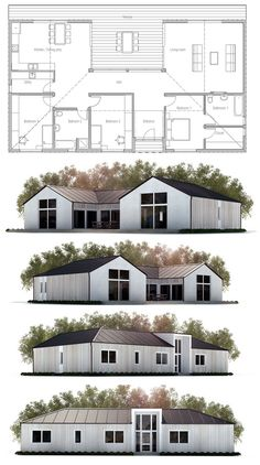 Small House Plan, Modern Farmhouse. Floor Plan