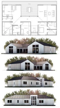 Small House Plan, Modern Farmhouse. Floor Plan