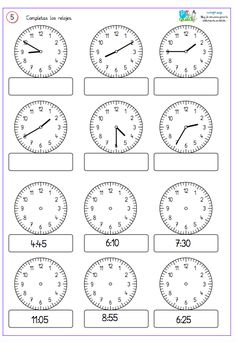 Comparto un par de fichas para reforzar . Telling Time Activities, Teaching Time, Teaching Math, First Grade Math Worksheets, 1st Grade Math, Preschool Worksheets, Homeschool Math, Math For Kids, Math Lessons