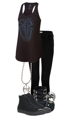 """""""Outfit"""" by roseangel145 ❤ liked on Polyvore featuring True Religion, Converse and John Richmond"""