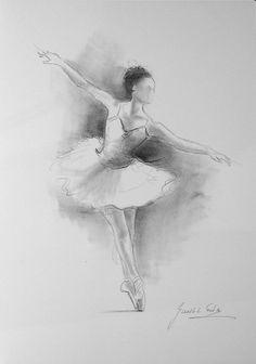 ORIGINAL pencil drawing 12 x 8 on WHITE paper of BALLERINA by Ewa Gawlik. Ballet Painting, Ballet Art, Ballet Dancers, Ballerinas, Ballerina Drawing, Dancer Drawing, Pencil Drawings, Art Drawings, Dancing Drawings