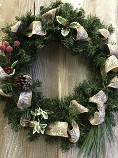 A personal favorite from my Etsy shop https://www.etsy.com/listing/255113364/christmas-wreath-holiday-wreath-front