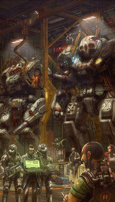 Battletech hanger, Atlas & Warhammer