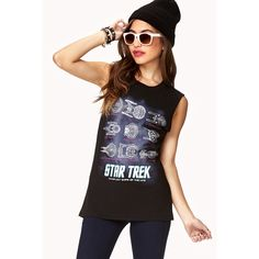 Forever 21 Women's  Star Trek Starfleet Muscle Tee ($14) ❤ liked on Polyvore featuring tops, outfits, graphic, shirts, star trek, tank tops, graphic tops, forever 21, forever 21 tank and muscle tshirt