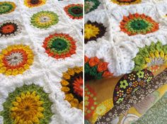 Vintage GRANNY SQUARE crochet