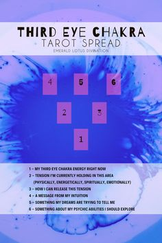 on our journey through the 7 primary chakras we enter the Brow chakra, also called the Third Eye. This chakra rules our intuition, dreams, foresight, perception and psychic abilities. 6 Chakra, Third Eye Chakra, Crown Chakra, Tarot Significado, Tarot Cards For Beginners, Tarot Astrology, Tarot Horoscope, Tarot Card Spreads, Free Tarot