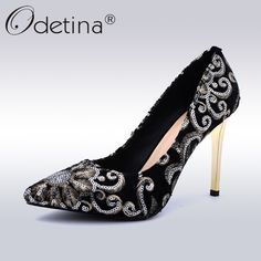 bacd740bc31b Find More Women s Pumps Information about Odetina Spring Autumn Fashion  Embroider Pumps Women Super High Heels