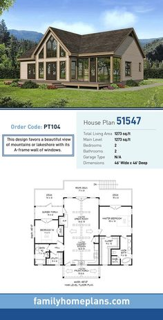 A-Frame House Plan 51547 | Total Living Area: 1273 SQ FT, 2 bedrooms and 2 bathrooms. This design favors a beautiful view of mountains or lakeshore with its A-frame wall of windows. #aframe
