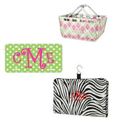 2 Cutie Patooties- Madison Market Tote (top right), Monogrammed License plate, & zebra hanging cosmetic case. www.2cutiepatooties.com #2CP