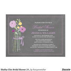 Shabby Chic Mason Jar Bridal Shower Invitations #shabbychic #masonjar #bridalshower #invitations #purple #yellow #craspedia #peonies