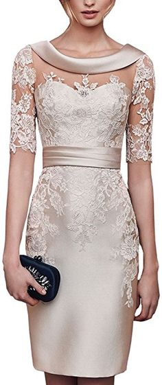 Lilybridal Women's Short Lace Prom Mother of the Bride Dress with Sleeves Champa. - Lilybridal Women's Short Lace Prom Mother of the Bride Dress with Sleeves Champagne at Amaz - Mob Dresses, Tea Length Dresses, Fashion Dresses, Dresses With Sleeves, Formal Dresses, Wedding Dresses, Short Sleeves, Peplum Dresses, Lace Wedding