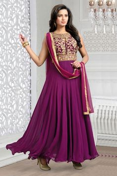 Show details for Mesmeric purple color anarkali suit